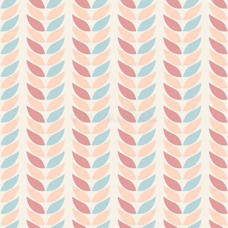 无缝的几何样式背景在淡色离开在米黄背景 抽象叶子纹理 库存例证