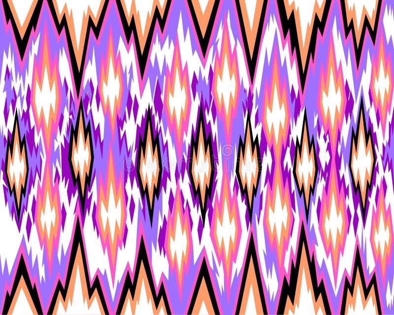无缝的几何样式,根据ikat织品样式 也corel凹道例证向量 库存例证