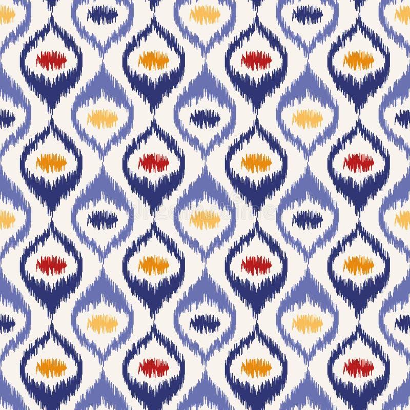 无缝的几何样式, ikat织品样式 皇族释放例证