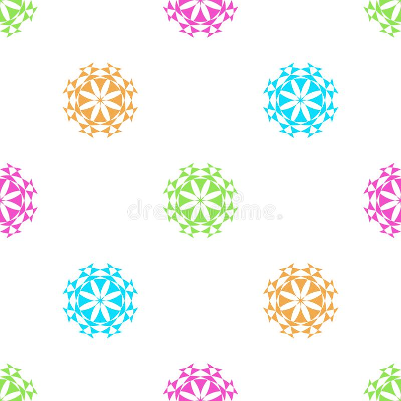 无缝的几何花卉样式传染媒介背景淡色色的五颜六色的设计摘要葡萄酒减速火箭的艺术蓝绿色白色pur 皇族释放例证