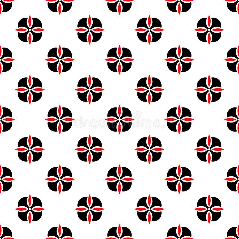 无缝的几何花卉花纹花样传染媒介背景摘要设计艺术黑色和红色 皇族释放例证
