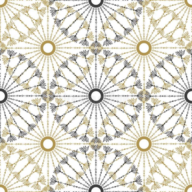 无缝的几何葡萄酒样式 传染媒介黑色和金圈子减速火箭的纹理 向量例证
