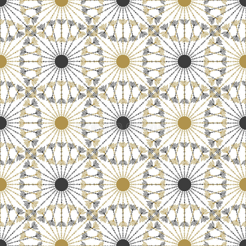 无缝的几何葡萄酒黑色和金子盘旋样式 最佳的下载原来的打印准备好的纹理导航 库存例证