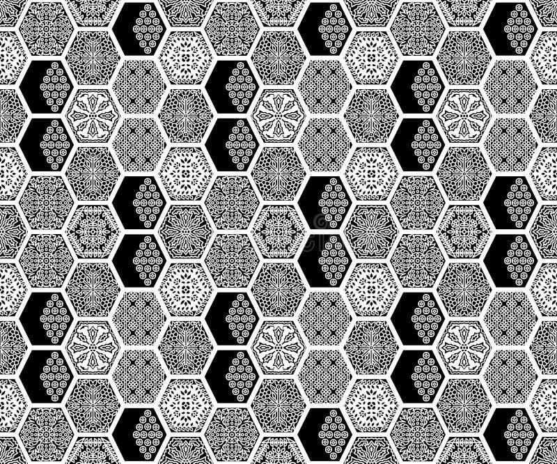 无缝的几何黑白色样式 皇族释放例证