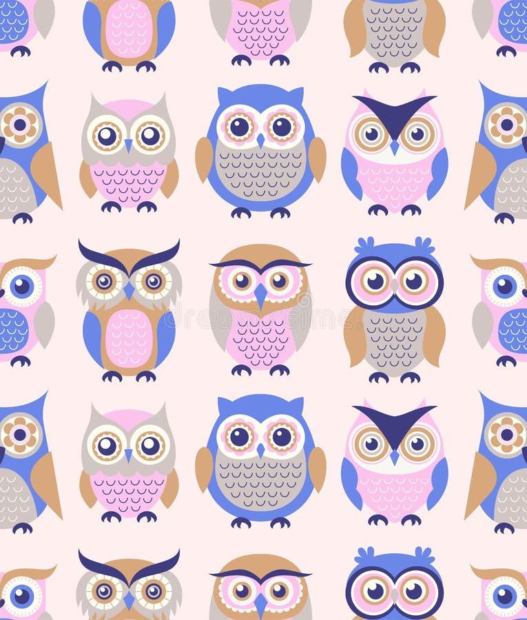 无缝的创造性的幼稚现代样式动画片猫头鹰贴墙纸织品样式设计 皇族释放例证
