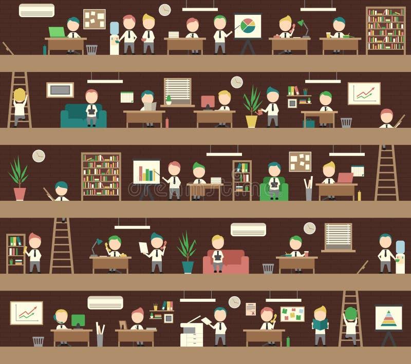 无缝的办公室概念Coworking空间人管理 向量例证
