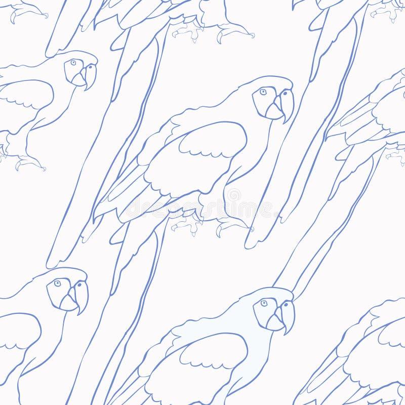 无缝的加勒比鹦鹉开会的样式蓝色着色 库存例证