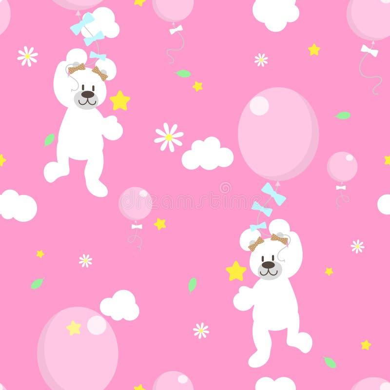 无缝的动物野生生物逗人喜爱的白色玩具熊藏品气球、花和星在天空重复样式在桃红色背景中 库存例证