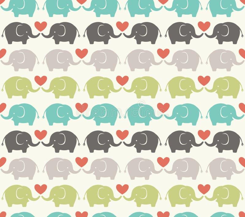 无缝的动画片大象样式 皇族释放例证