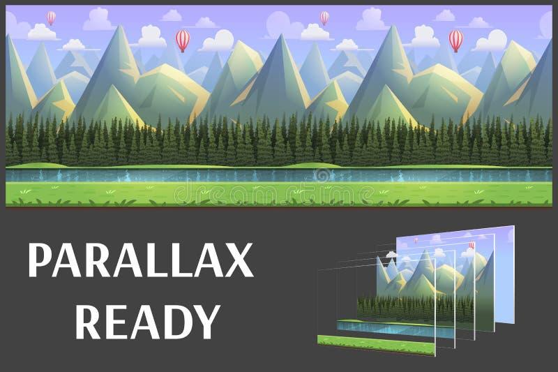 无缝的动画片山自然风景,导航与被分离的层数的无止境的背景 向量例证