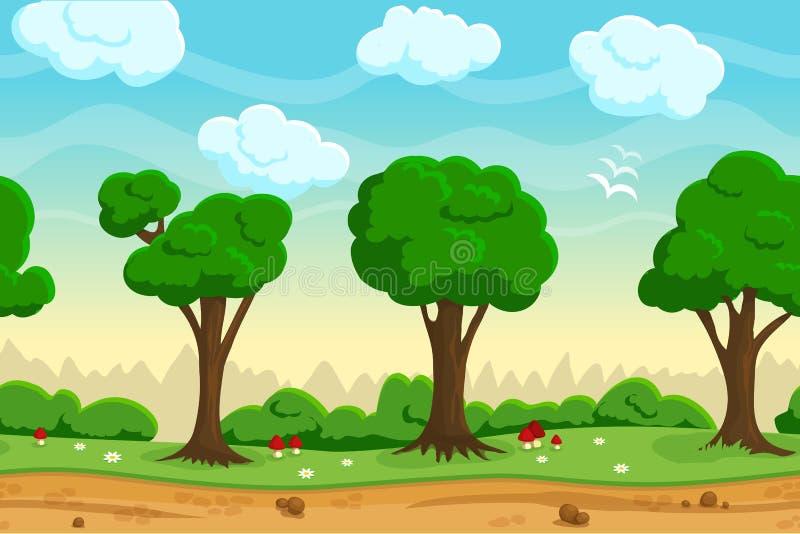 无缝的动画片比赛风景 向量例证