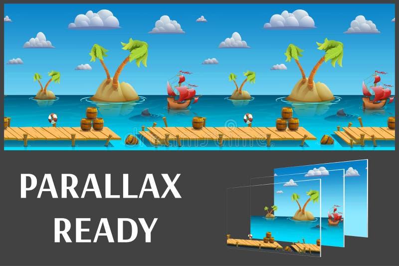 无缝的动画片海风景,导航与被分离的层数的无止境的背景 向量例证