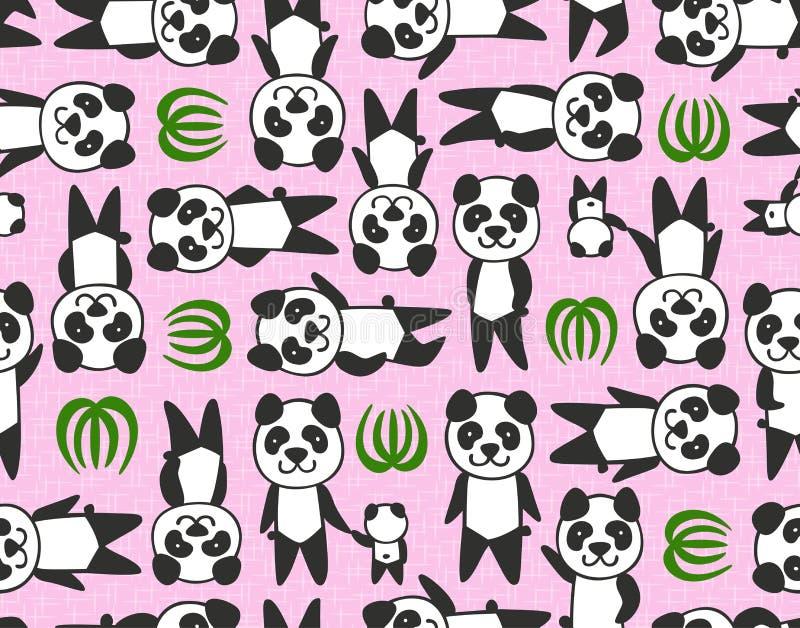 无缝的动画片熊猫样式 库存例证