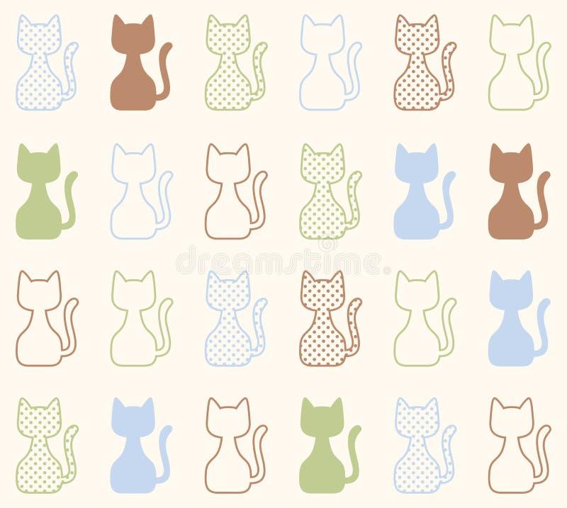 无缝的动画片猫样式 库存例证