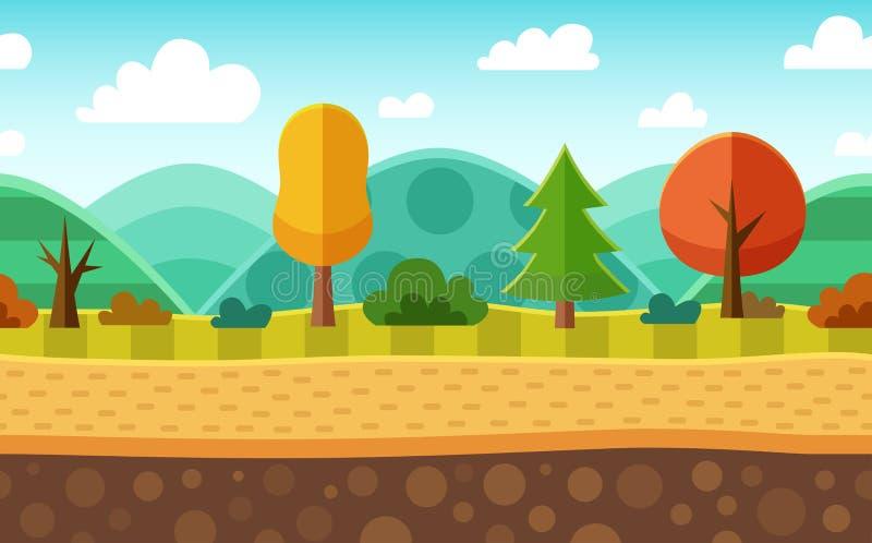 无缝的动画片自然风景 层状地面,草,树 皇族释放例证