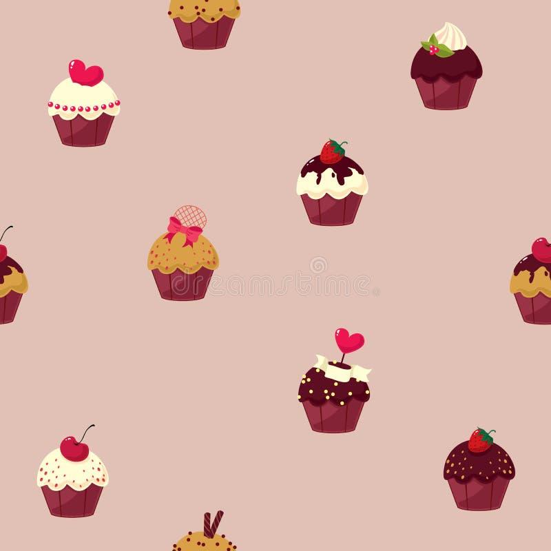 无缝的动画片蛋糕样式 库存例证