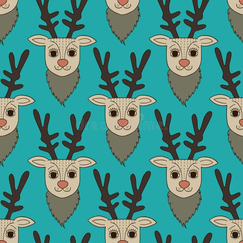 无缝的动画片鹿样式 向量例证