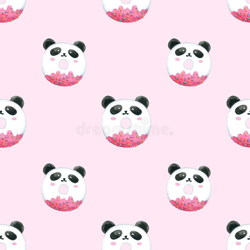 无缝的包装的样式逗人喜爱的熊猫油炸圈饼,印刷品织品 水彩手拉的图象完善对案件设计,明信片, 库存例证