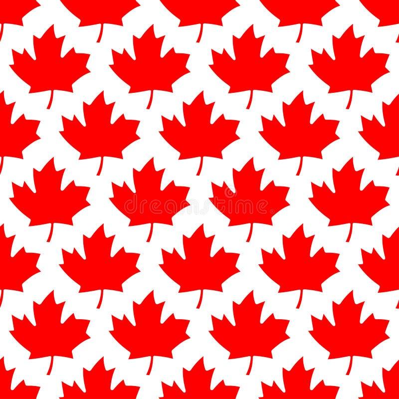 无缝的包装纸-红槭叶子 向量例证