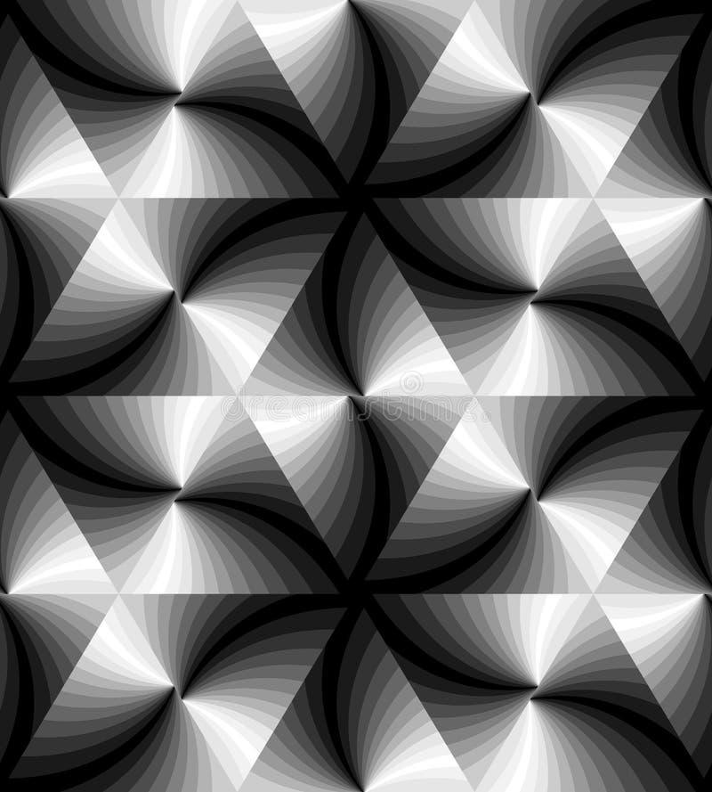 无缝的单色波浪三角样式 几何抽象的背景 适用于纺织品,织品,包装 皇族释放例证