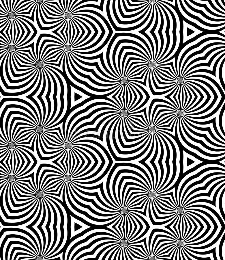 无缝的单色螺旋样式 几何抽象的背景 库存例证