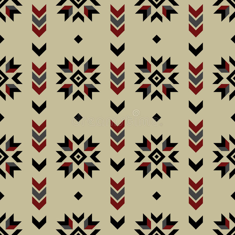 无缝的印地安样式传染媒介箭头和美国当地美式几何装饰品背景设计减速火箭的葡萄酒漂泊bo 库存例证