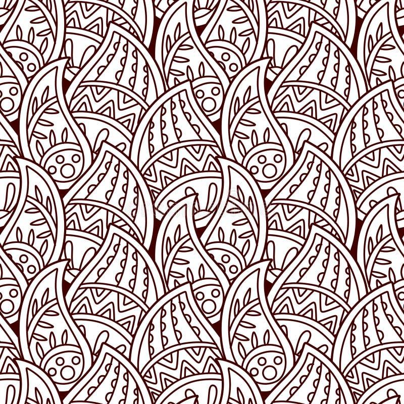 无缝的印地安装饰品,无刺指甲花样式 豪华东方设计 库存例证