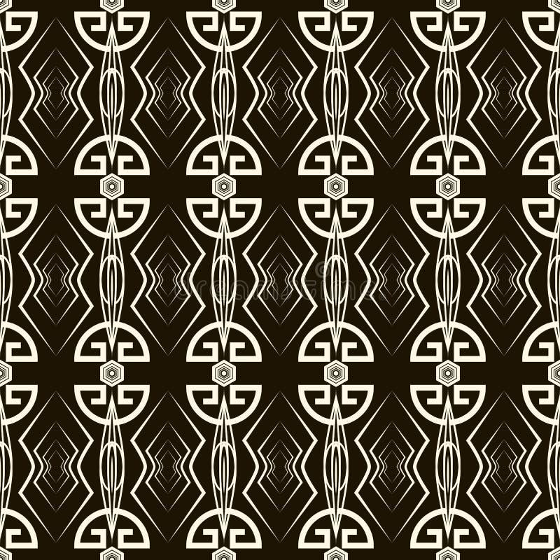 无缝的古色古香的样式装饰品 几何艺术装饰时髦的ba 库存例证