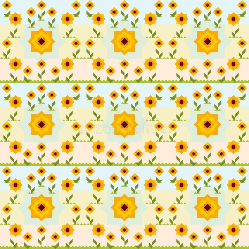 无缝的向日葵传染媒介样式 免版税图库摄影