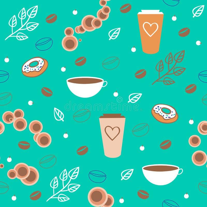 无缝的咖啡样式 库存例证