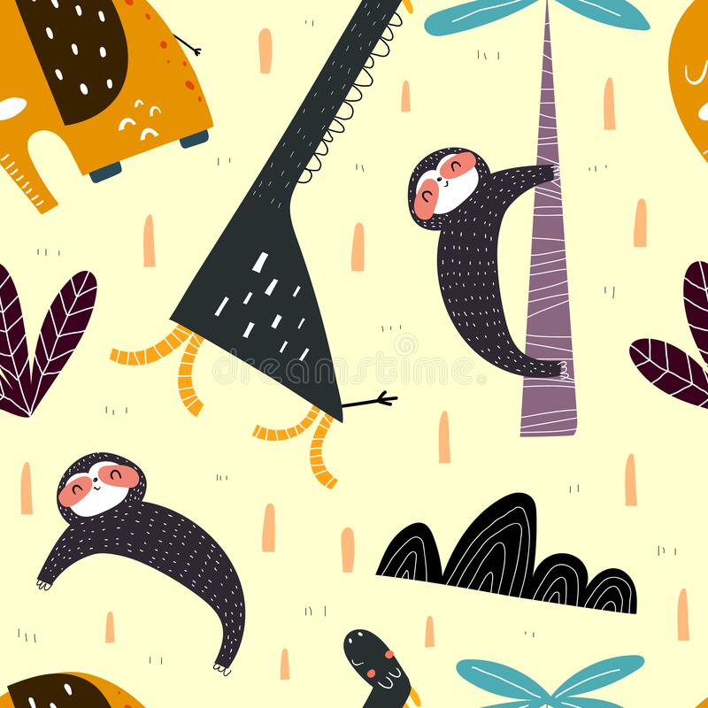 无缝的图案,中性背景上有卡通长颈鹿、懒人、大象和装饰元素 平面样式,彩色矢量 皇族释放例证