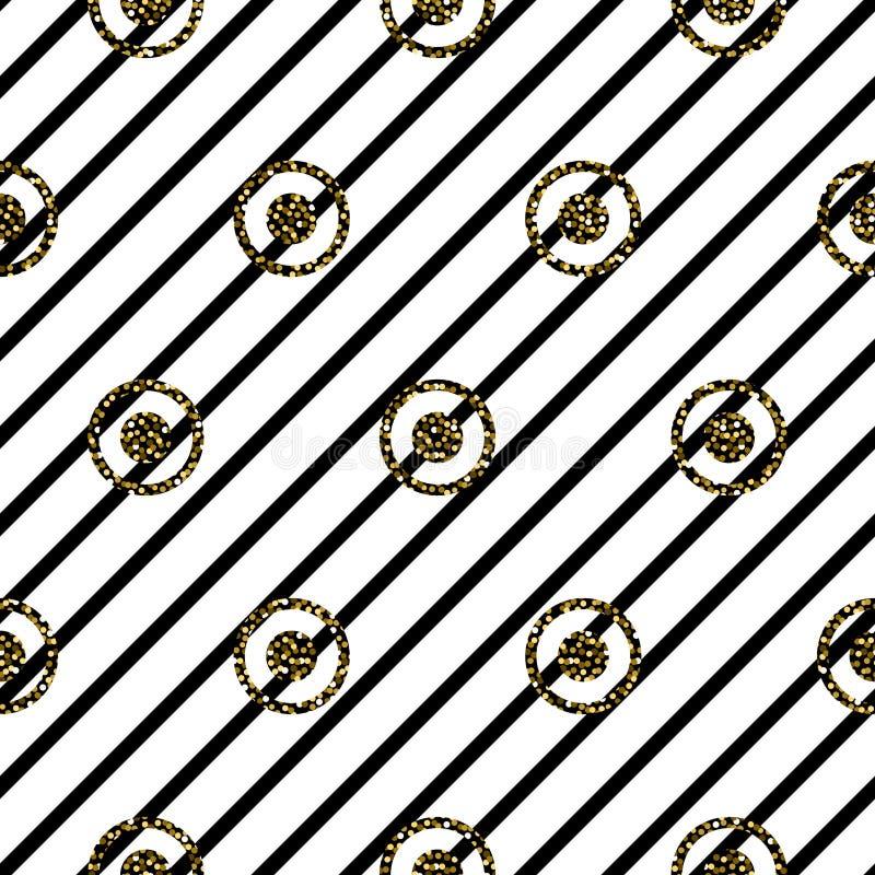 无缝的圈子和条纹黑白样式 向量例证