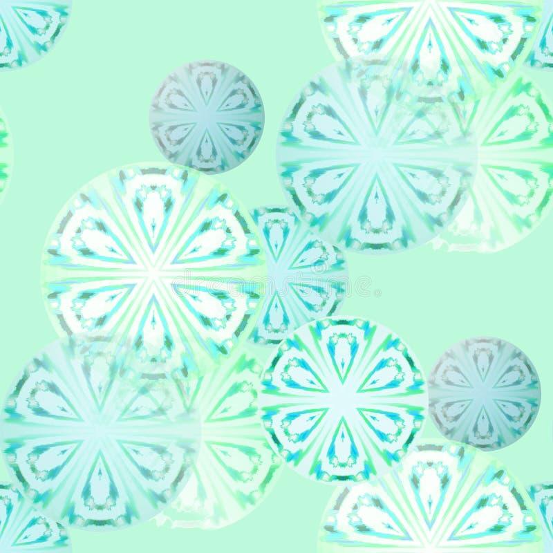 无缝的圈子样式白色土耳其玉色薄菏绿色重叠 向量例证