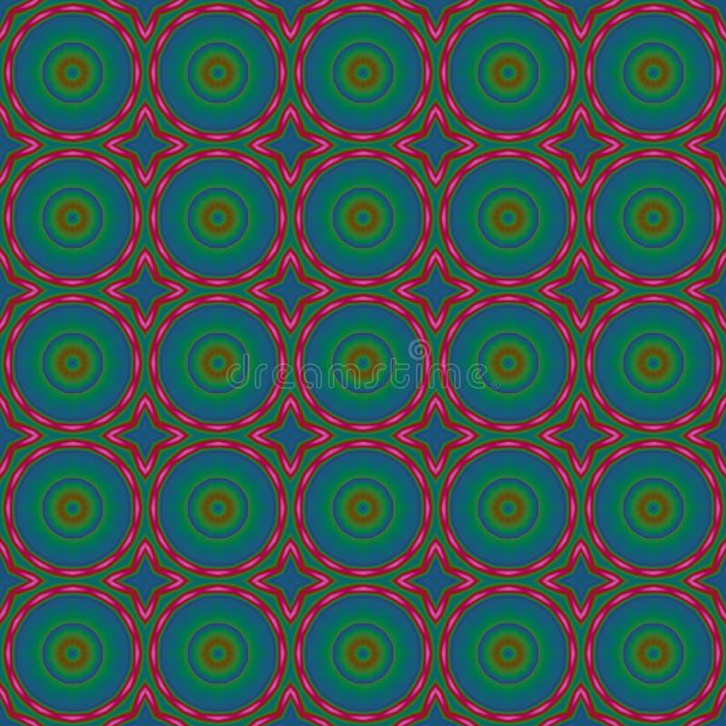 无缝的圈子样式蓝绿色红色 库存例证
