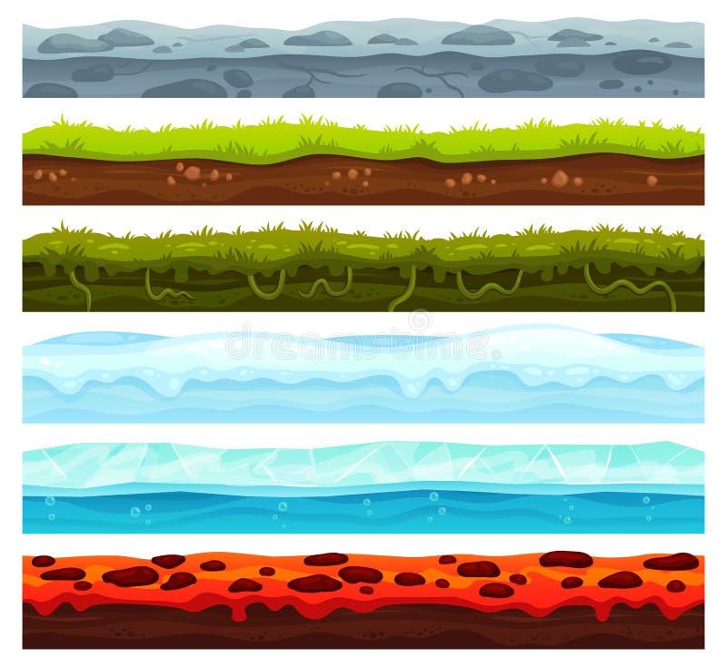 无缝的土地层数 土地面风景比赛财产、冰与雪盖帽和熔岩地板 动画片表面传染媒介财产 库存例证