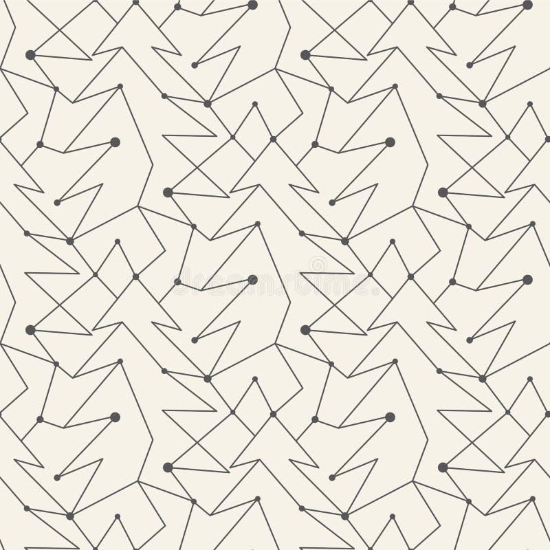 无缝的圣诞树线样式瓦片 库存例证