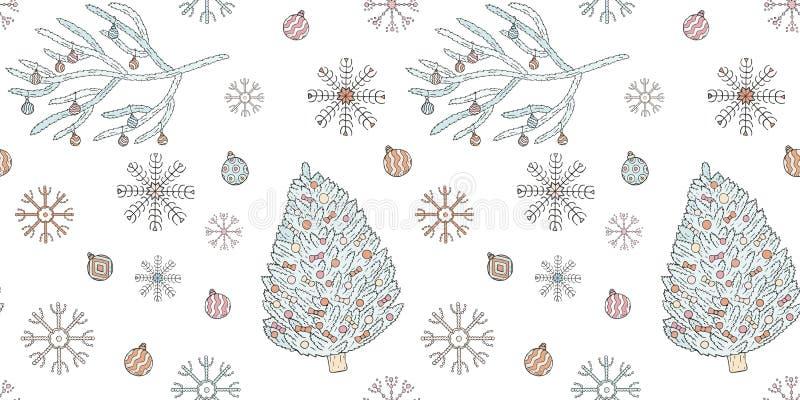 无缝的圣诞节和新年样式 圣诞树,圣诞树分支、圣诞节球和雪花在一白色backg 库存例证