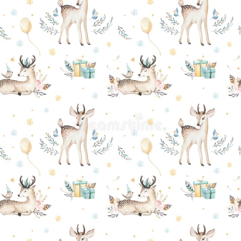 无缝的圣诞节小鹿无缝的样式 与鹿,雪花的手拉的冬天backgraund 托儿所xmas动物 库存例证