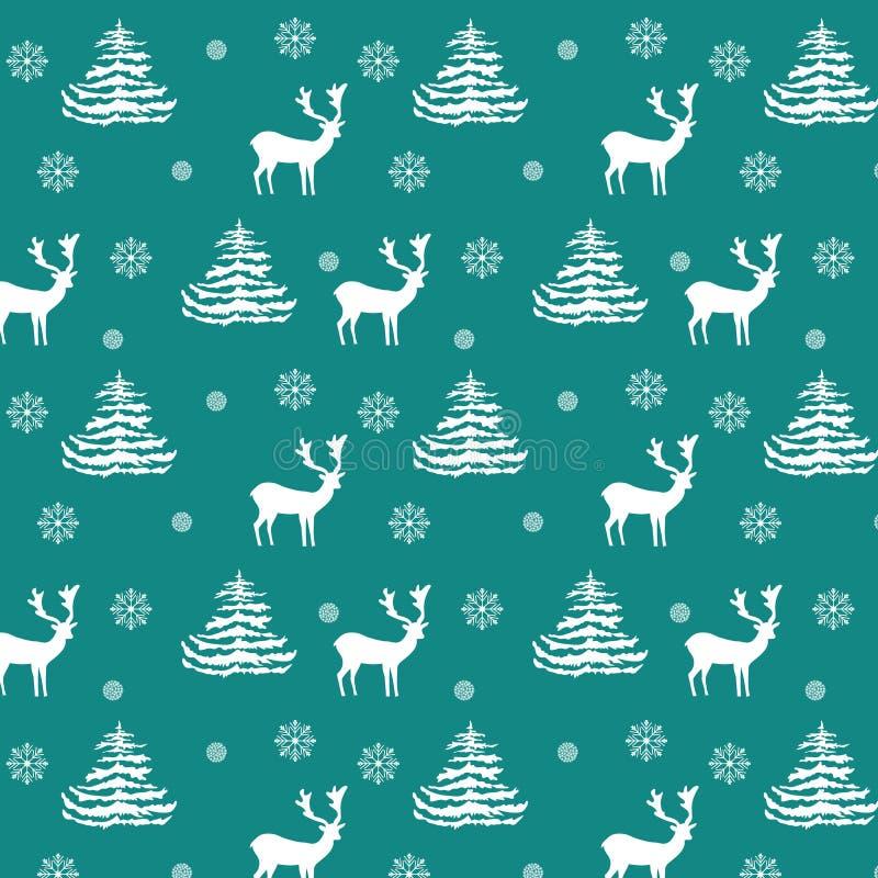 无缝的圣诞节样式手拉的现实驯鹿,冷杉木,雪花,在绿松石背景的白色剪影 库存例证