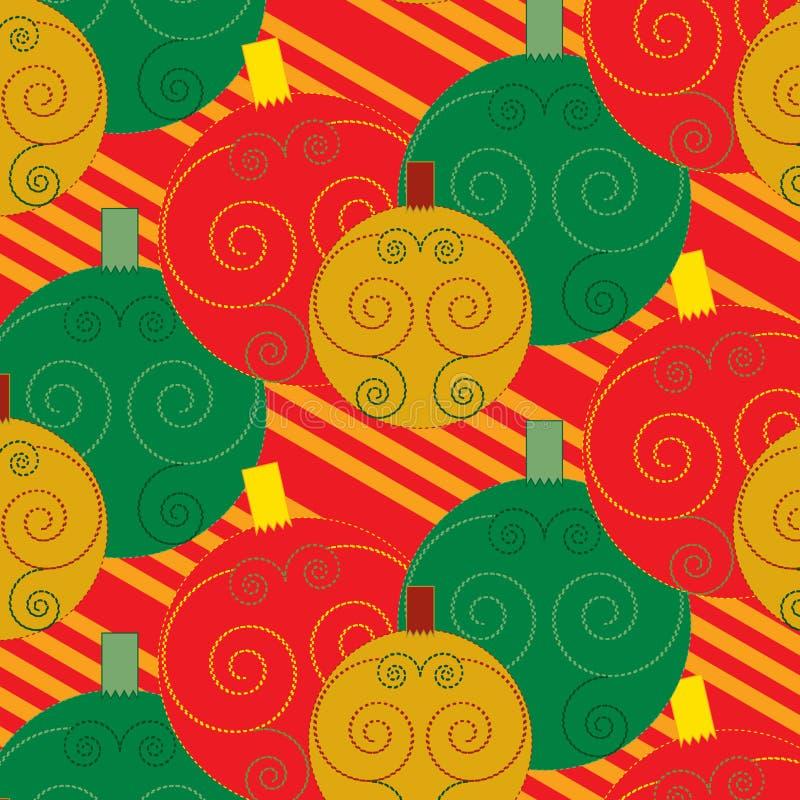 无缝的圣诞节球漩涡装饰五颜六色的样式 库存例证
