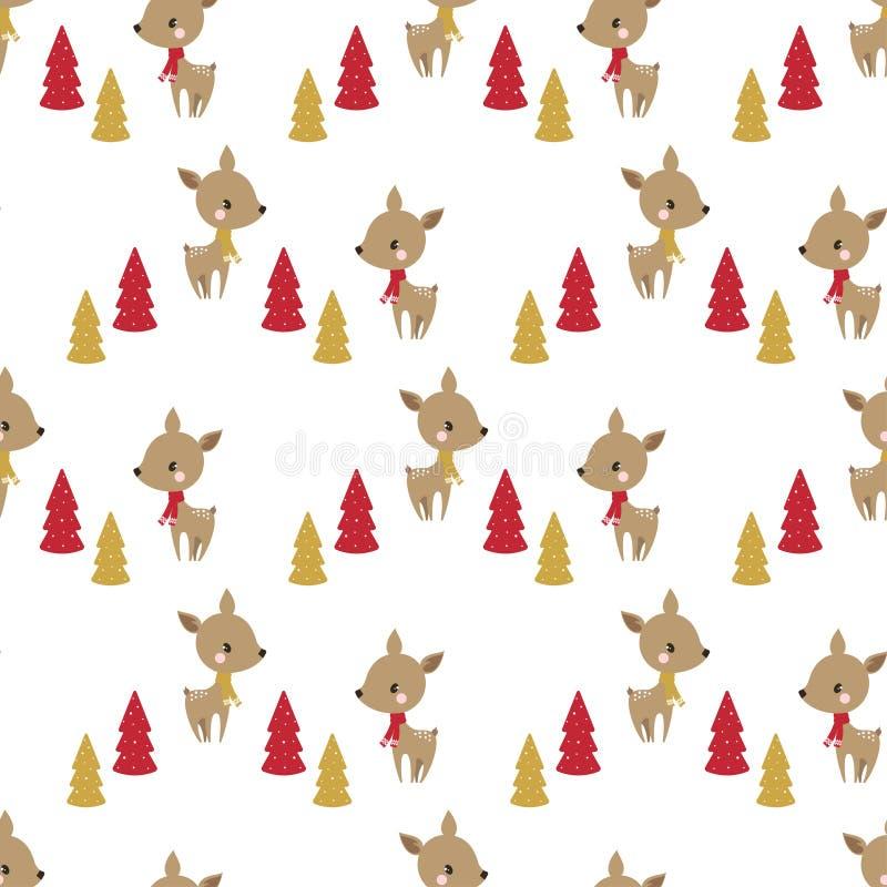 无缝的圣诞节鹿样式 向量例证