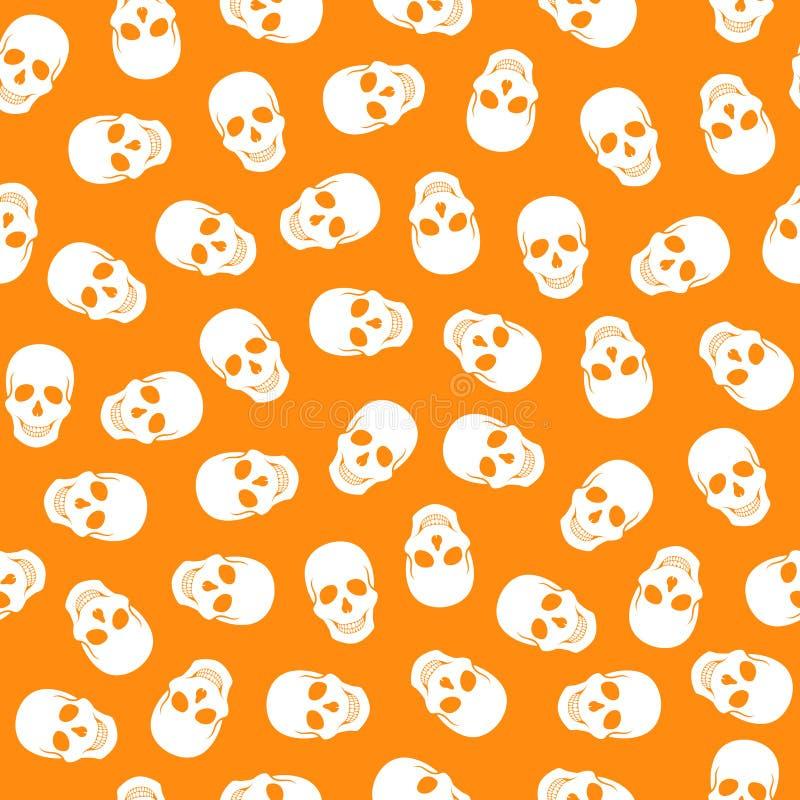 无缝的在橙色背景的样式白色头骨 向量例证
