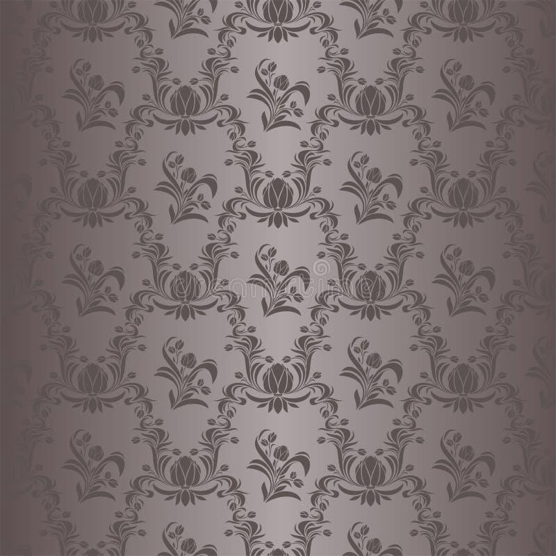 无缝的在灰色颜色的锦缎花卉墙纸 库存例证
