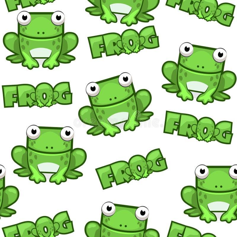 无缝的在白色背景的样式逗人喜爱的动画片正方形池蛙 向量例证