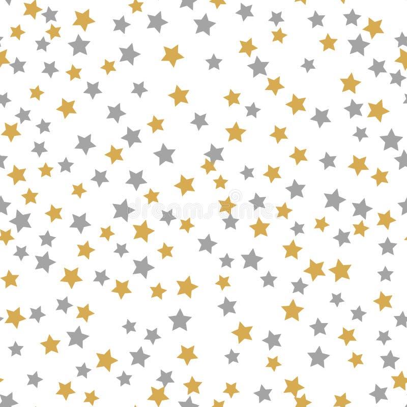 无缝的在白色背景的样式金灰色星与快活的Christmass 金黄灰色星 您的圣诞节的背景和 皇族释放例证