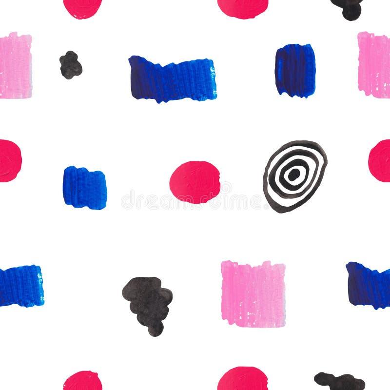 无缝的在白色被隔绝的背景几何元素蓝色桃红色红色黑色的样式手画明亮的斑点冲程冲程 皇族释放例证