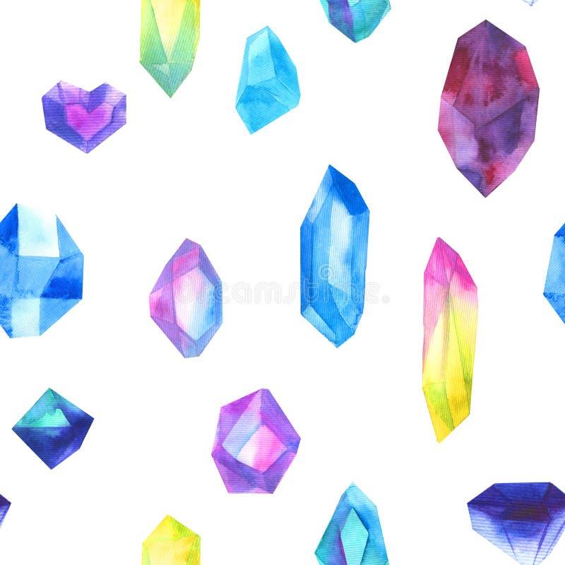 无缝的在白色隔绝的样式水彩五颜六色的水晶 库存例证