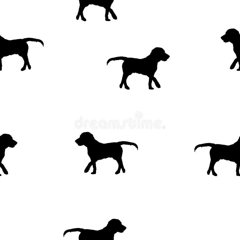 无缝的在白色,传染媒介eps 10的样式狗黑剪影 库存例证