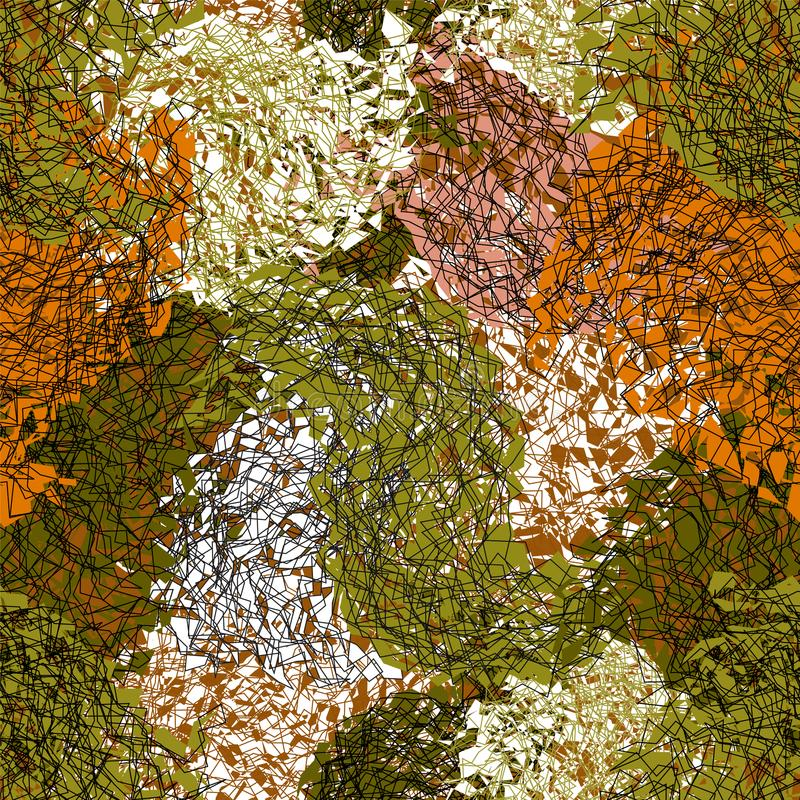 无缝的在绿色,棕色,白色颜色的难看的东西被弄脏的和镶边马赛克无缝的样式 库存例证