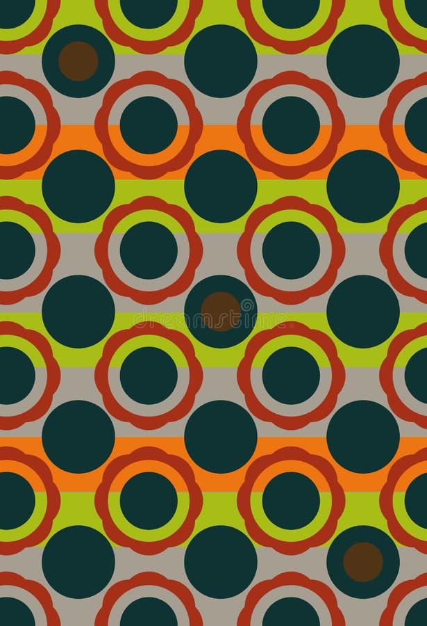 无缝的在葡萄酒颜色的传染媒介几何圈子样式背景 向量例证